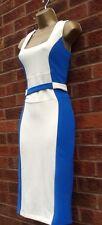 New Ex Julien MacDonald Vtg 40-50s Cream & Blue Illusion Pencil Wiggle Dress