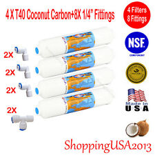 4 Pcs T40 Inline Filter Carbon Coconut Water Filter RO + 8 Fittings Connectors@@
