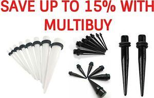 Acrylic Ear Plug Tunnel Taper Expander Stretchers Stretching Black White UK