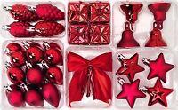 Ikea Red Baubles Set Christmas Tree Decoration Festive Hanging Festive Shiny Mat