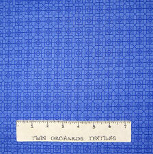 Calico Fabric - Tonal Blue Geometric Gem Medallion - Northcott OOP YARD