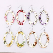 Bohemia Print Floral Oval Shaped Dangle Drop Earrings Summer Fashion Jewelry NEW