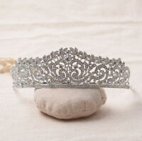 4.5cm High Elegant Leaf White Clear Crystal Wedding Party Pageant Prom Tiara