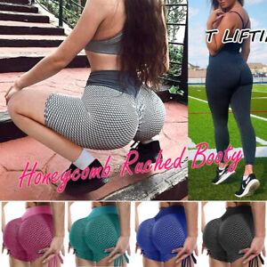 Women Honeycomb Ruched Yoga Trousers Fitness Butt Lifting Legging Push Up Shorts
