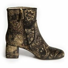 Womens Ladies Black Brocade Velvet Ankle Boot EU40 £199 RRP Shop Clearance