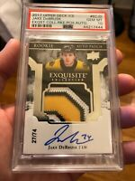 17-18 Upper Deck The Cup Jake Debrusk RPA 3 Color Exquisite PSA 10 Gem Mint
