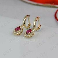 1 Ct Pear Ruby & Diamond 14K Yellow Gold Finish Drop Dangle Earrings For Women's