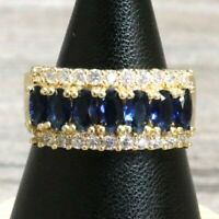 Sparkling 2 Ct Blue Sapphire Ring Women Wedding Engagement Anniversary Jewelry