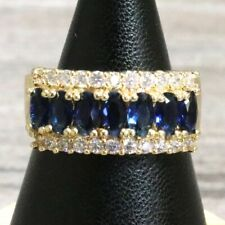 Vintage Carved Blue Sapphire Ring 14K Yellow Gold Plate Jewelry Gift Nickel Free