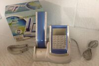 Blue/Grey Touch Panel Caller ID Phone With Calendar/Calculator Redial NEW