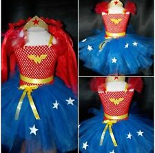 Girls Superhero Wonder Woman Tutu dress & Hairband fancy dress inspired 1-10
