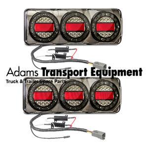 LED Autolamps PAIR Black Chrome Maxilamp SOMAXI2LR/450B Stop/Tail/Ind/Rev 12Volt
