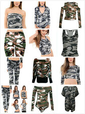 Women Camoflage Army Collection Ladies Skirt T-Shirt Crop Top Shorts Bodysuits
