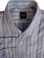 HUGO BOSS Shirt Mens 16.5 L Blue – Double Blue Stripes