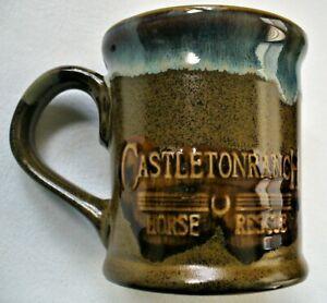 "New~HORSE RESCUE~Castleton Ranch~STONEWARE~Glazed~EMBOSSED~Western~COFFEE MUG~4"""