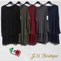 Italian Lagenlook Tunic Top Dress Pleated Hem Plus Size 14-26