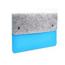 "Blue Felt Sleeve Bag with Button for 13"" Macbook Pro/ Air/ Ultrabooks/Chromebook"