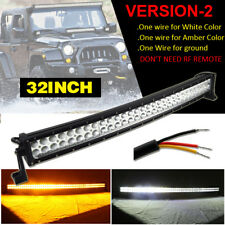 "32""INCH Dual Color Amber White Curved LED Work Light Bar Offroad UTE Truck ATV"