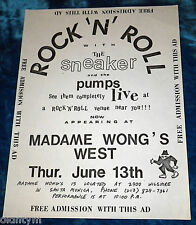 RARE 1985 SNEAKER AND THE PUMPS FLYER @ MADAME WONGS WEST MOD SKA PUNK KBD