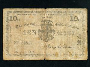 Sarawak:P-7,10 Cents 1919 * GOVERNMENT TREASURY * RARE *