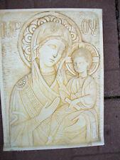 Madonna Icon stone sculpture wall home decor religion handmade Artist Canada
