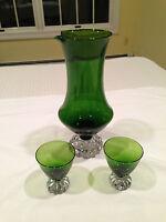 Vintage Modern Style 3-piece EMERALD GREEN GLASS COCKTAIL PITCHER SET EUC