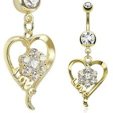 14k Gold Plated Belly Button Navel Ring with Flower Pronged Gem Heart Dangle