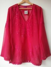 THERAPY Kafta TOP magenta transparent sequined Pit to pit 20in UK6/8/10 NWT