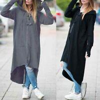 ZANZEA Women Oversize Hoodies Shirt Dress Zip Up Jacket Coat Asymmetrical Hooded
