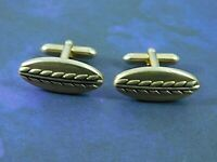 Vintage Signed SWANK Cuff Links Brushed Gold Tone Raised Wheat