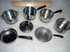 """VINTAGE 5 CHILDS COPPER BOTTOM STAINLESS STEEL 3 1/4"""" PANS 1 HAS NO COPPER"""