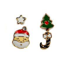 SET OF 4 CUTE CHRISTMAS EARRING Gold Plate Enamel Santa Claus Tree Pair Stud NEW