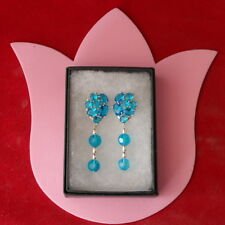 Beautiful Swiss Blue Topaz & Filled Silver Earrings 8.3 Gr. 5.2 Cm. Long In Box