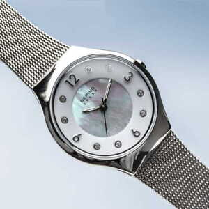 Bering Time SOLAR polished silver color silver MOP dial women's - 14427-004
