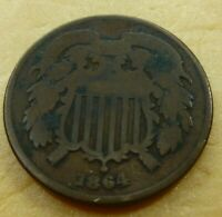 1864  Two Cent Coin        #2C64-8