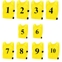 10 x TRAINING Bibs NUMBERED Reuseable sports Adults Kids Top Vest Football Rugby