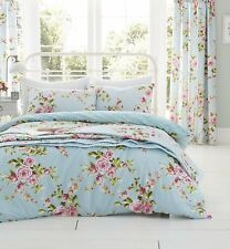 DOUBLE BED DUVET COVER SET CANTERBURY FLORAL PINK DUCK EGG POLKA DOT WHITE