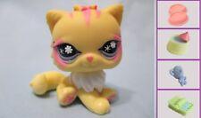Littlest Pet Shop YELLOW PERSIAN #878 Cat Pink stripes +1 FREE Access 100% Authe