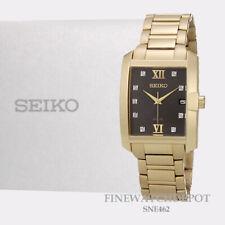 Seiko Solar Diamond Dial Gold Tone Stainless Steel Men's Watch SNE462