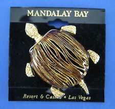 Turtle Fashion Pin Brooch Tortoise Shell Gold Enamel Mandalay Bay