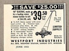 1952 Vintage Ad Westport Electric Lawn Mowers Kansas City,MO