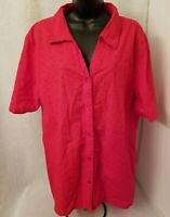 White Stag Womens Red Embroidered Button Down Shirt Top Blouse Size 22W 24W