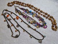 VINTAGE TO NOW MULTI COLOR WOOD LUCITE & GLASS BEADED BRONZE TONE NECKLACE LOT