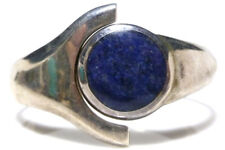 STERLING SILVER VINTAGE MEXICO MEXICAN SODALITE HINGED CUFF BANGLE BRACELET