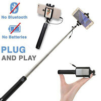 Wired Selfie Stick w/ Mirror Extendable Wired Control Shutter for Samsung Huawei