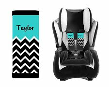 PERSONALIZED BABY TODDLER CAR SEAT STRAP COVERS BLUE TOP BLACK CHEVRON