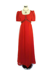1970s Dress Vintage Retro Beaded Sequin Empire Puff Sleeve Chiffon Red Maxi 6/8