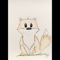 Maria Scalf Fox Animal Home Decor ORIGINAL PAINTING Watercolor 9x12 Expression