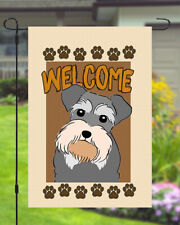 Schnauzer Welcome Dog Garden Banner Flag 11x14 to 12x18 Pet Yard Decor Breed