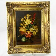 Oil Painting Still Life of Flowers on Board Signed Donald Brooke 1971 Framed